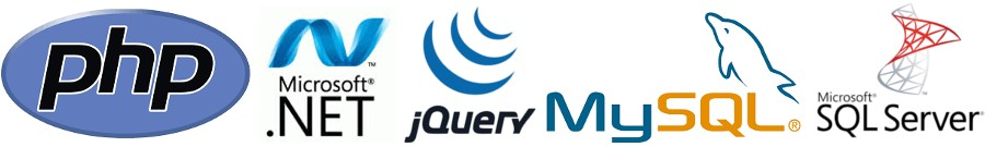 PHP .NET jQuery MySQL MS SQL Server